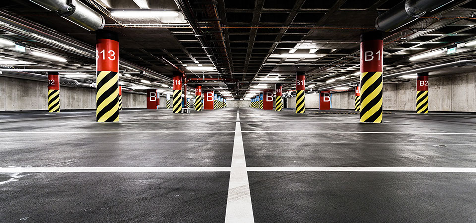 Floor Coating, Post Markings, Piping and Parking Lines Painted by Pesada in Oakville, Ontario
